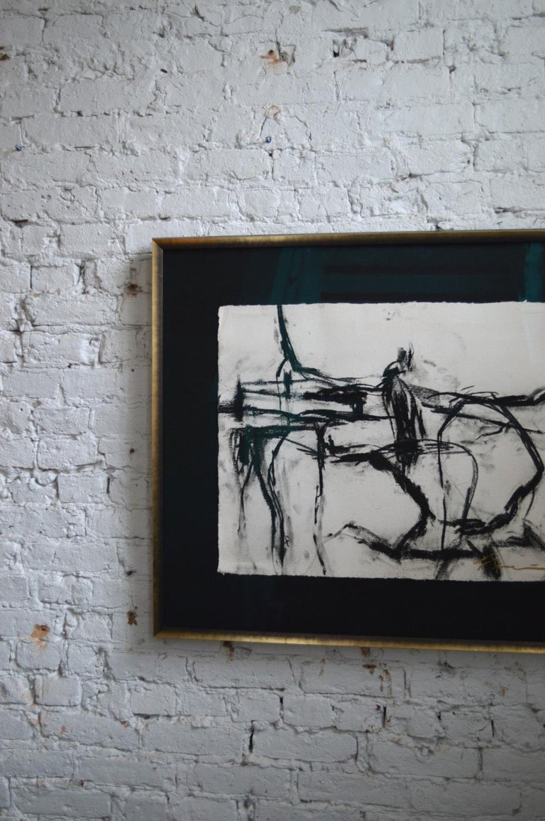 American 21st Century Signed Charcoal Drawing by Francine Turk For Sale
