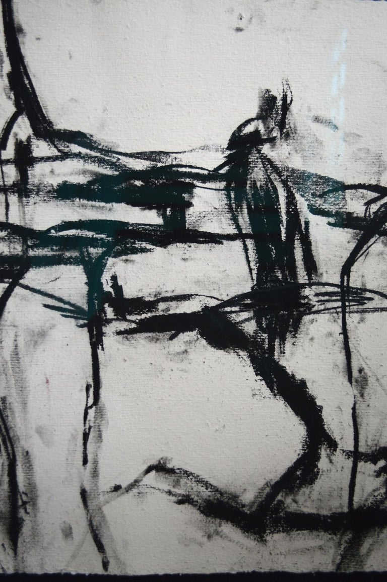 Contemporary 21st Century Signed Charcoal Drawing by Francine Turk For Sale