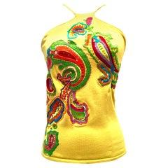 21st Century Silk Embroidered Halter Top By, Ralph Lauren