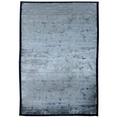 21st Century Silver Blue Hand Knotted Silk Rug
