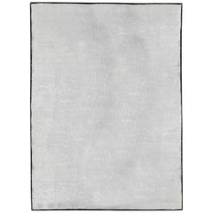 21st Century Silver Gray Hand Knotted Banana Silk Rug