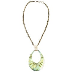 21st Century Silver Lucite & Crystal Pendant Necklace By, Alexis Bittar