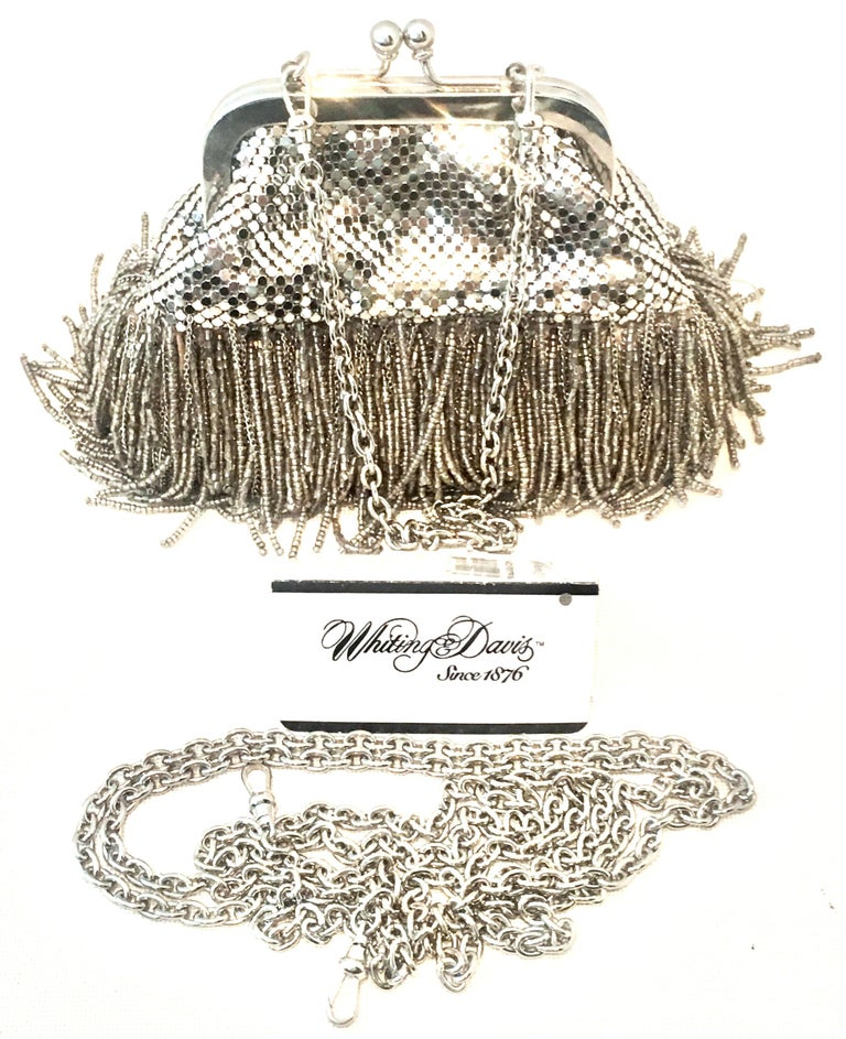 21st Century Silver Metal Mesh & Beaded Fringe Evening Bag By, Whiting & Davis In Excellent Condition For Sale In West Palm Beach, FL