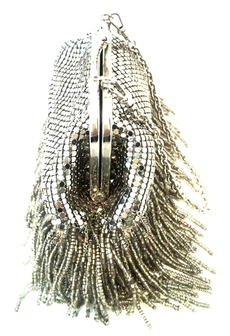Women's or Men's 21st Century Silver Metal Mesh & Beaded Fringe Evening Bag By, Whiting & Davis For Sale