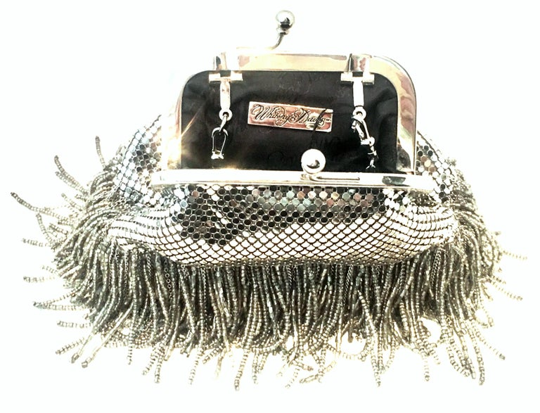 21st Century Silver Metal Mesh & Beaded Fringe Evening Bag By, Whiting & Davis For Sale 1