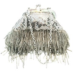 21st Century Silver Metal Mesh & Beaded Fringe Evening Bag By, Whiting & Davis