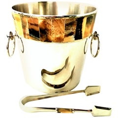 21st Century Silver Plate and Horn Champagne/Ice Bucket and Tongs S/2