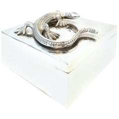 """21st Century Silver Plate Sculptural """"Lizard"""" Box"""