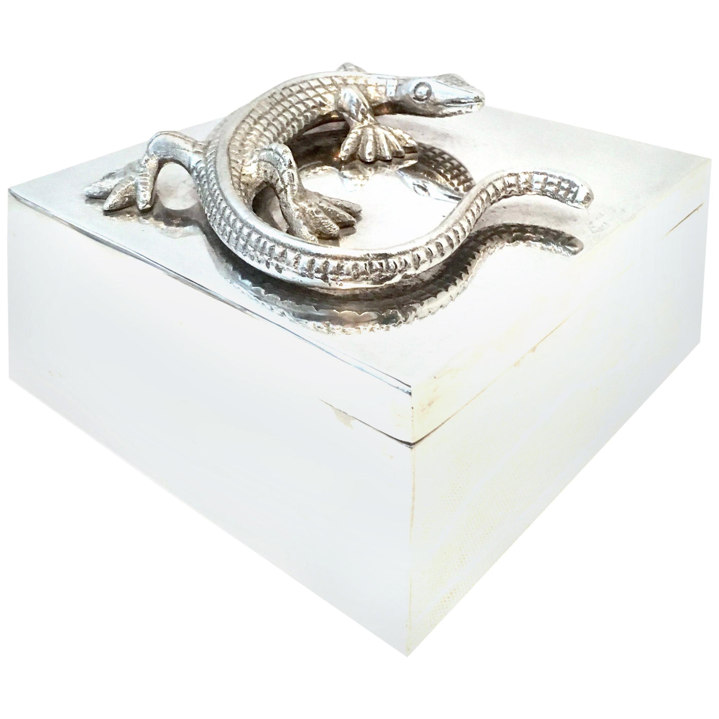 """21st Century Silver Plate Sculptural """"Lizard"""" Lidded Box"""