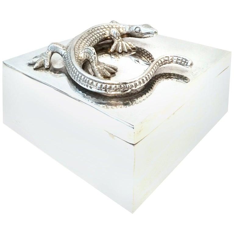 "21st Century Silver Plate Sculptural ""Lizard"" Lidded Box For Sale"