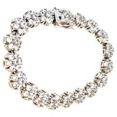 "21st Century Silver Plate & Swarovski Crystal ""Flower"" Link Tennis Bracelet"