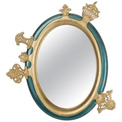 21st Century Sissi Mirror in Carved Wood with Gold and Silver Leaf by Bessa