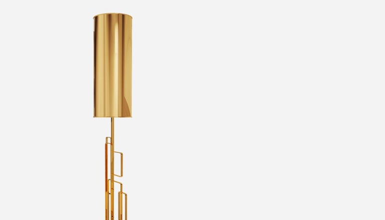 21st Century Skyscraper Table Lamp Brushed Brass For Sale 1