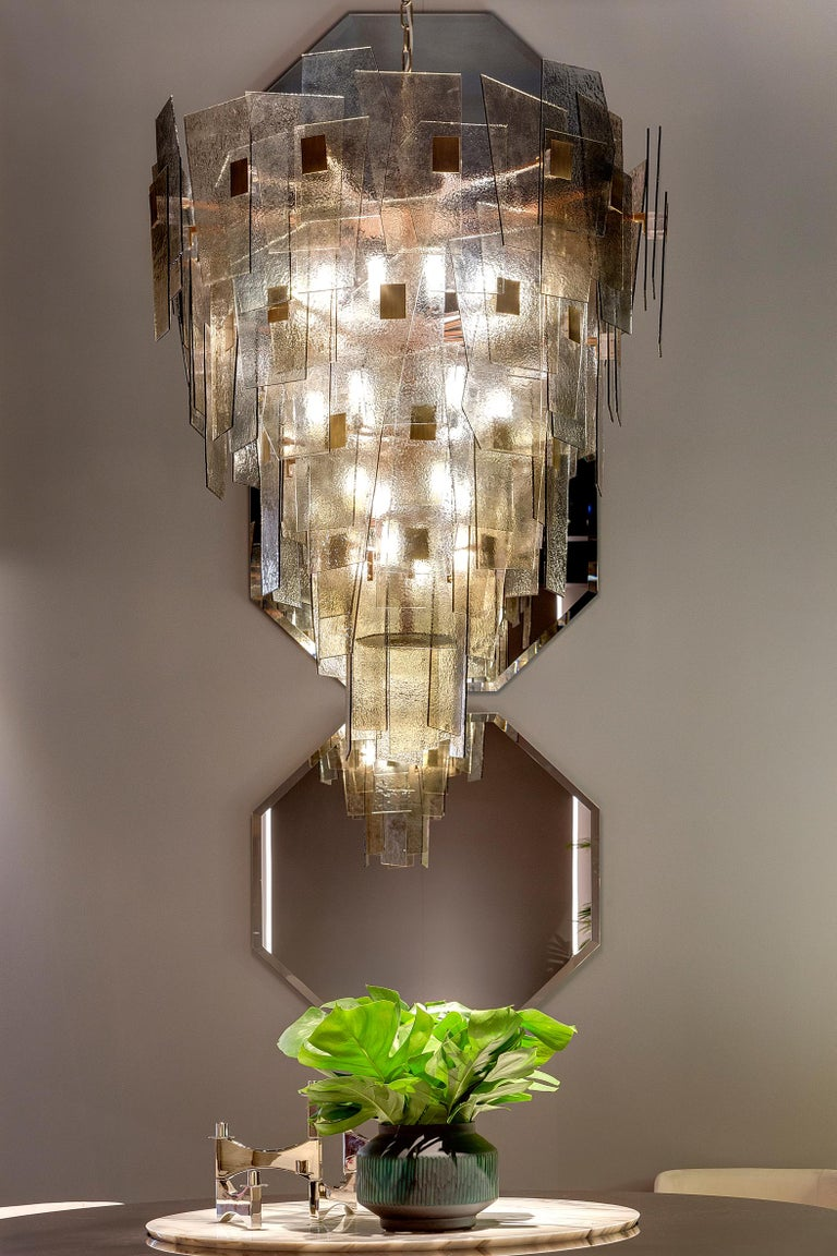 Art Deco 21st Century Sliver Chandelier by Officina Luce Fumè and Amber Glass Shades For Sale