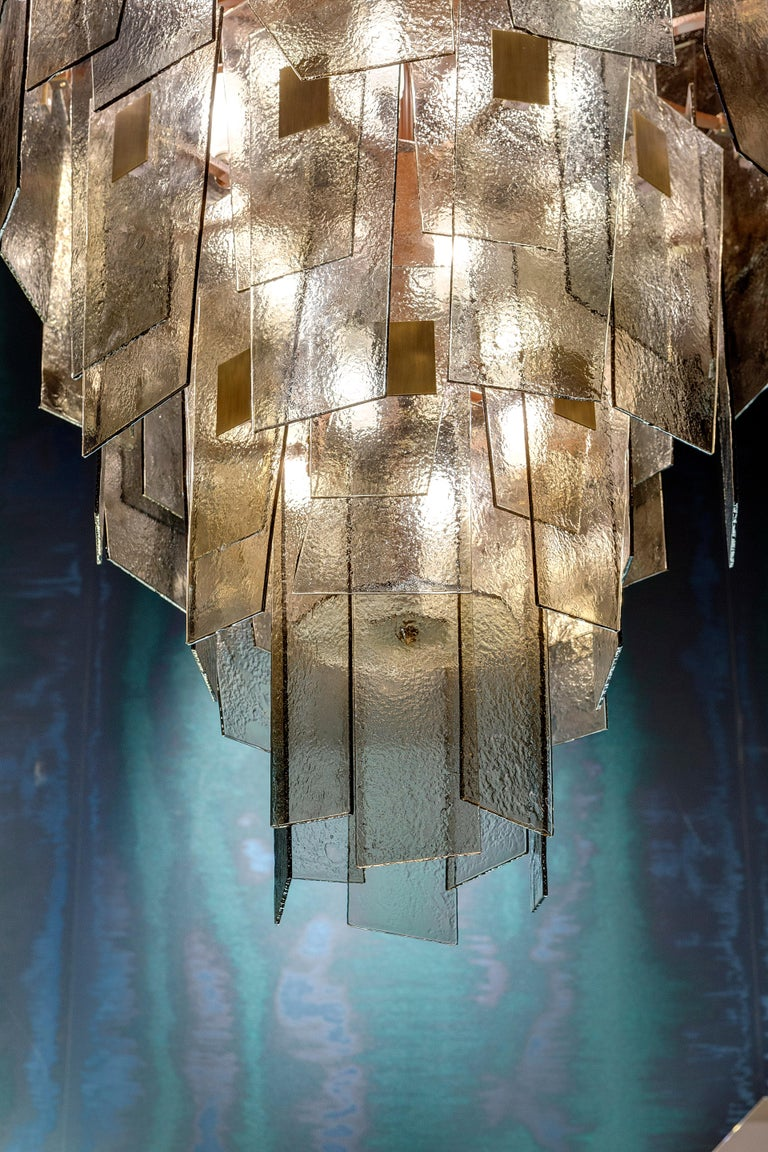 Burnished 21st Century Sliver Chandelier by Officina Luce Fumè and Amber Glass Shades For Sale
