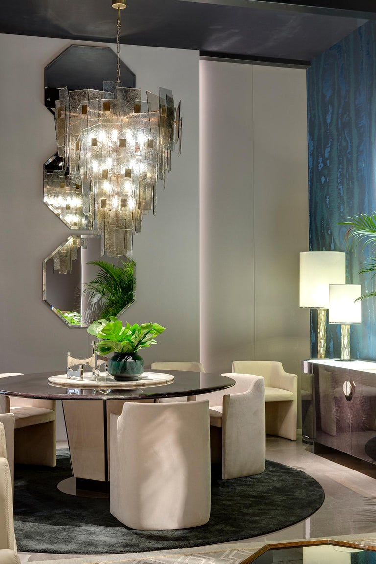 21st Century Sliver Chandelier by Officina Luce Fumè and Amber Glass Shades In New Condition For Sale In Prato, IT