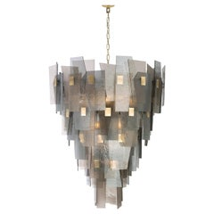 21st Century Sliver Chandelier by Officina Luce Fumè and Amber Glass Shades