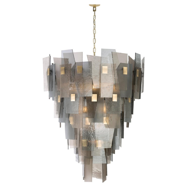 21st Century Sliver Chandelier by Officina Luce Fumè and Amber Glass Shades For Sale