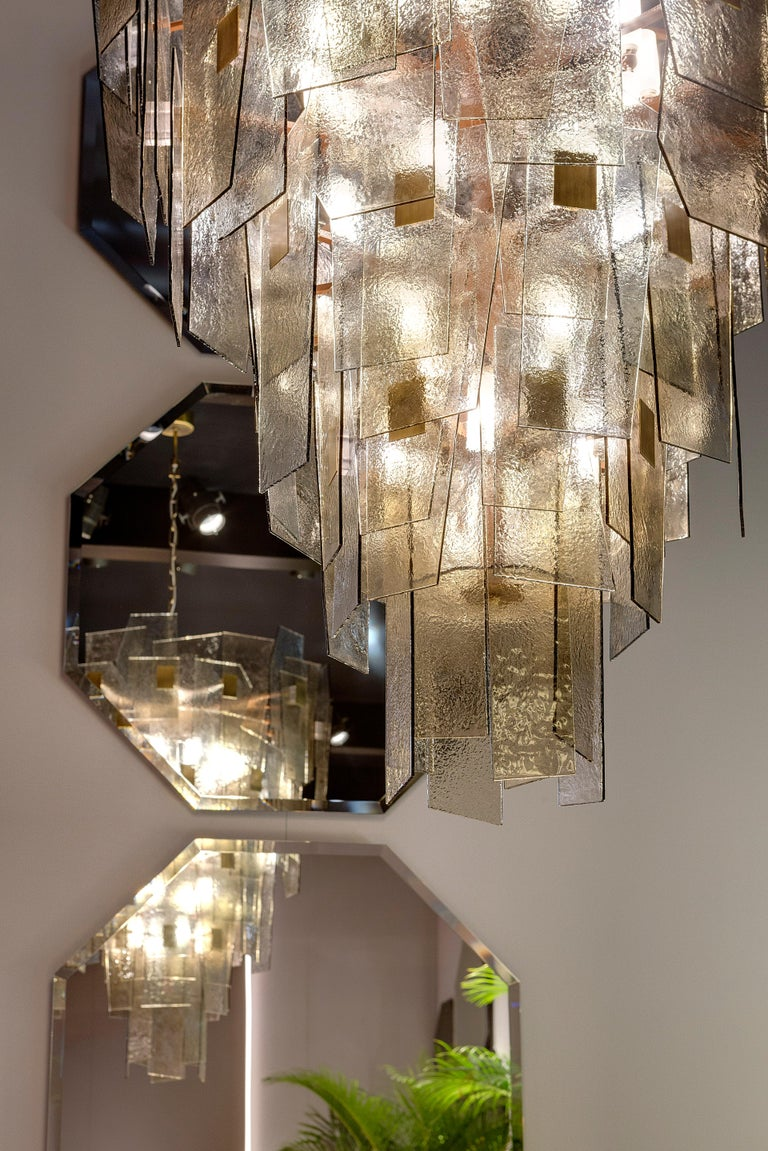 Italian 21st Century Sliver Midi Chandelier by Officina Luce Fumè & Amber Glass Shades For Sale