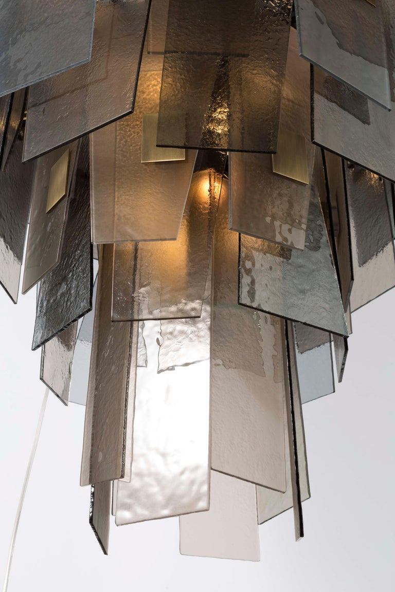 Burnished 21st Century Sliver Midi Chandelier by Officina Luce Fumè & Amber Glass Shades For Sale