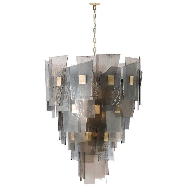 21st Century Sliver Midi Chandelier by Officina Luce Fumè & Amber Glass Shades For Sale