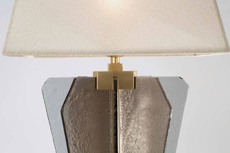 Italian 21st Century Sliver Table Lamp by Officina Luce Fumè & Amber Glass For Sale