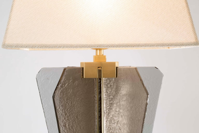 Varnished 21st Century Sliver Table Lamp by Officina Luce Fumè & Amber Glass For Sale