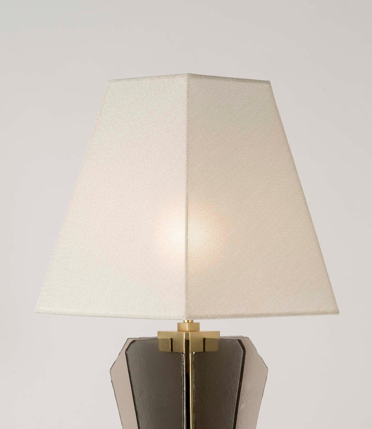 21st Century Sliver Table Lamp by Officina Luce Fumè & Amber Glass In New Condition For Sale In Prato, IT