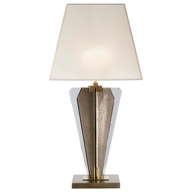 21st Century Sliver Table Lamp by Officina Luce Fumè & Amber Glass For Sale