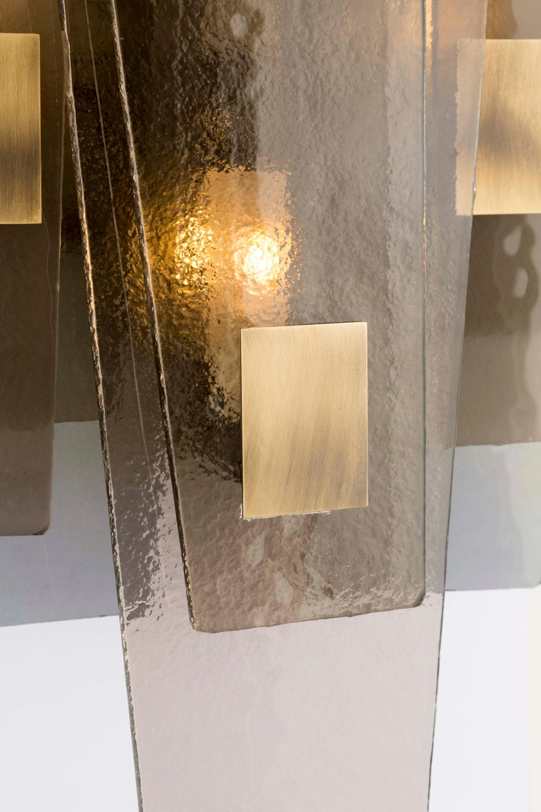 Art Deco 21st Century Sliver Wall Lamp by Officina Luce Fumè & Amber Glass For Sale