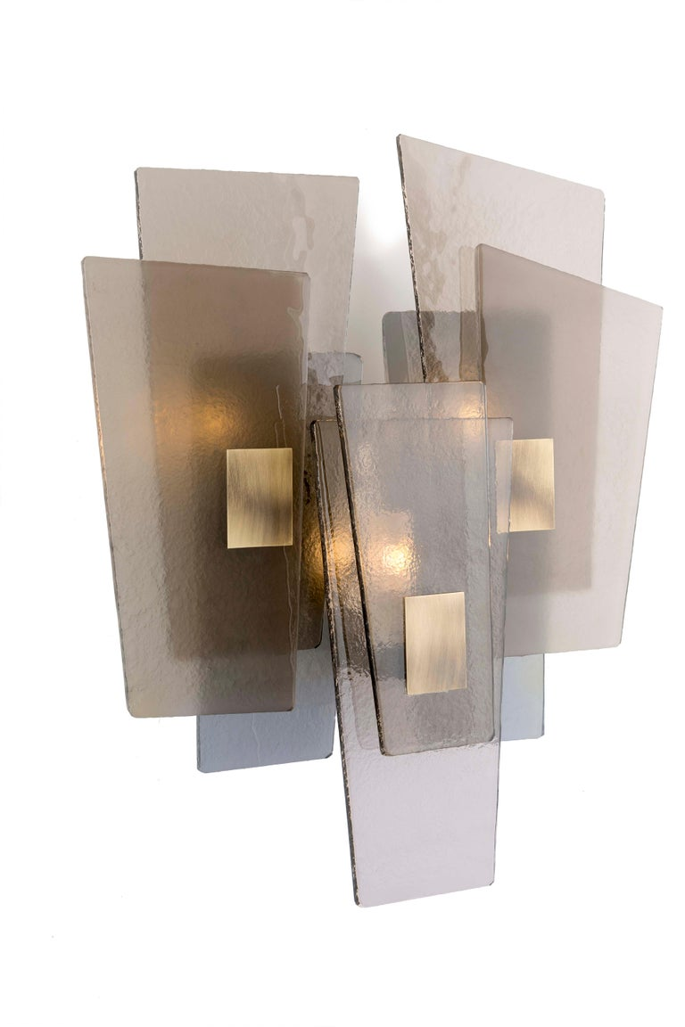 Italian 21st Century Sliver Wall Lamp by Officina Luce Fumè & Amber Glass For Sale