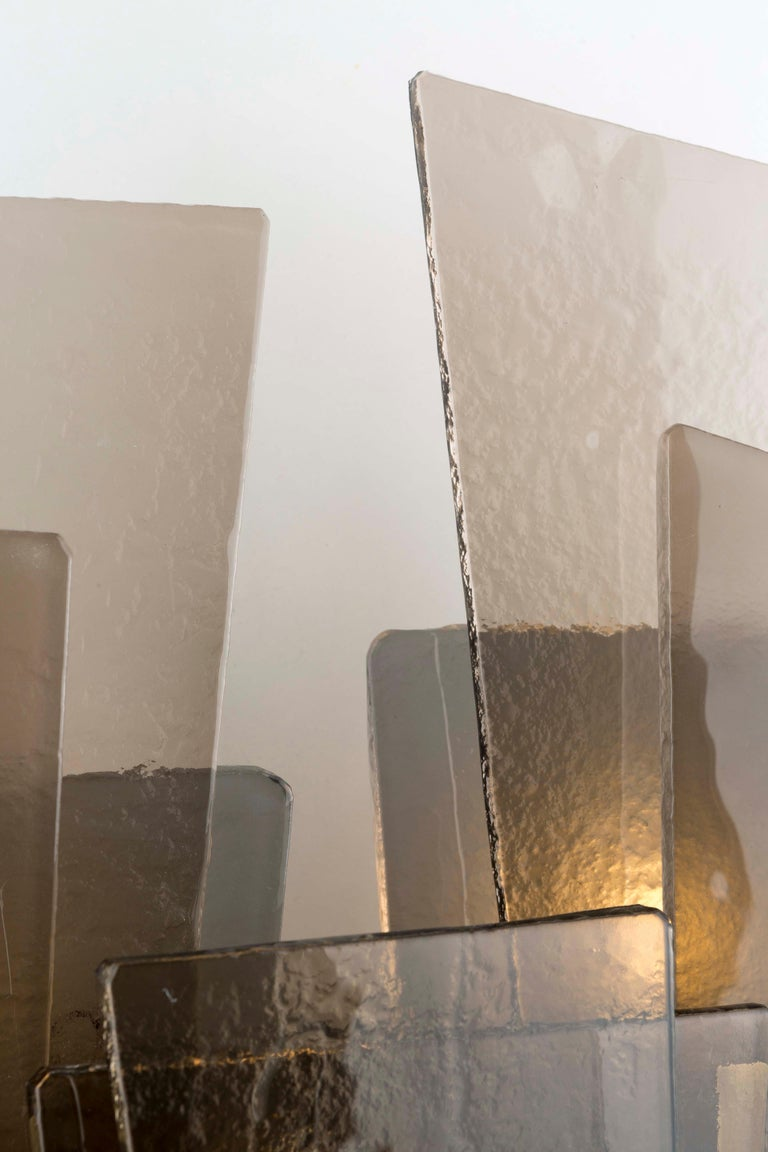 Burnished 21st Century Sliver Wall Lamp by Officina Luce Fumè & Amber Glass For Sale