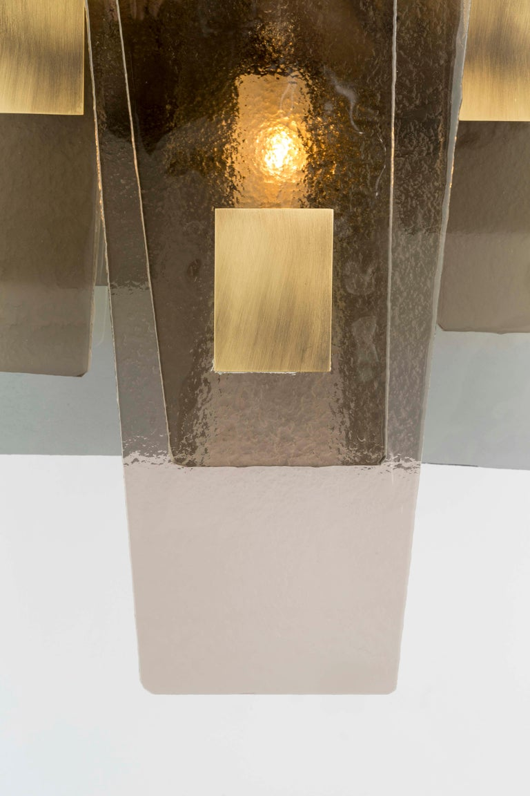 21st Century Sliver Wall Lamp by Officina Luce Fumè & Amber Glass In New Condition For Sale In Prato, IT