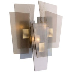 21st Century Sliver Wall Lamp by Officina Luce Fumè & Amber Glass