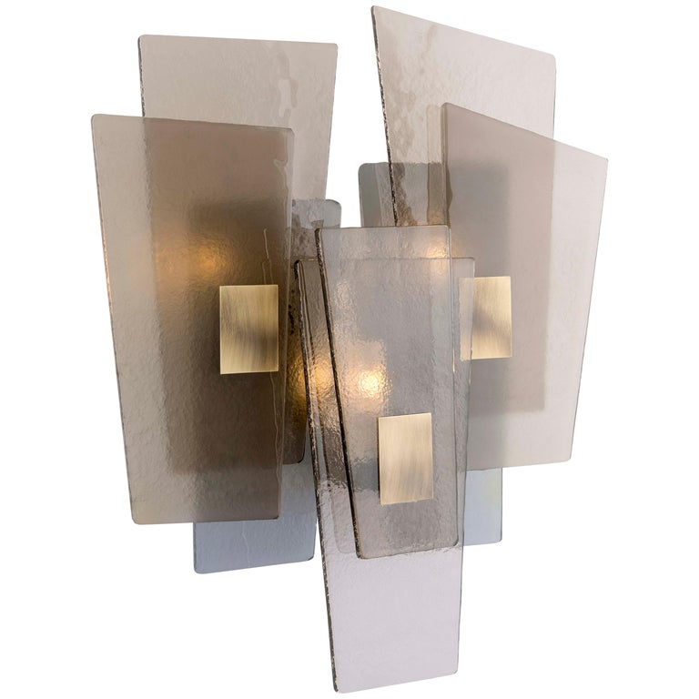 21st Century Sliver Wall Lamp by Officina Luce Fumè & Amber Glass For Sale