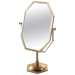 21st Century Small Standing Mirror, Brass Frame and Leather Insert