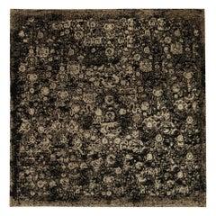 21st Century Square Barneo Black and Beige Handmade Wool Rug
