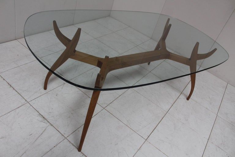 Modern STAG Dining Table in Solid Walnut and Glass Top For Sale