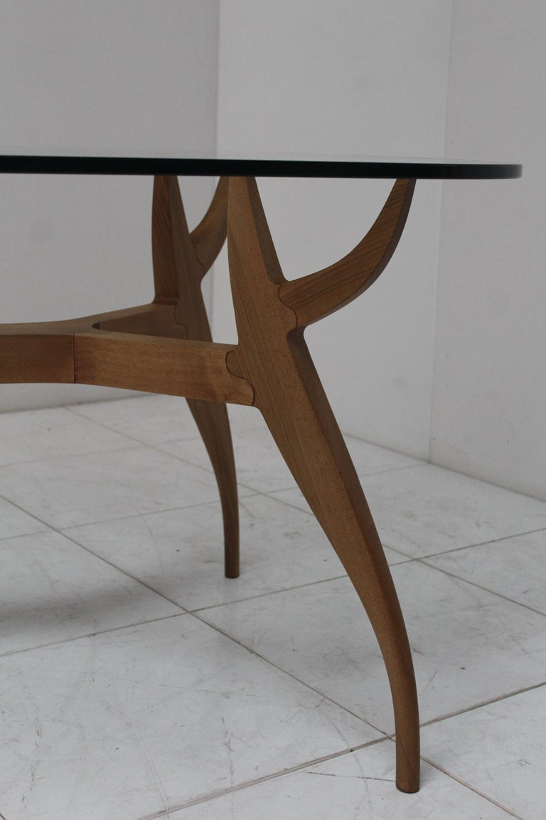 Contemporary STAG Dining Table in Solid Walnut and Glass Top For Sale