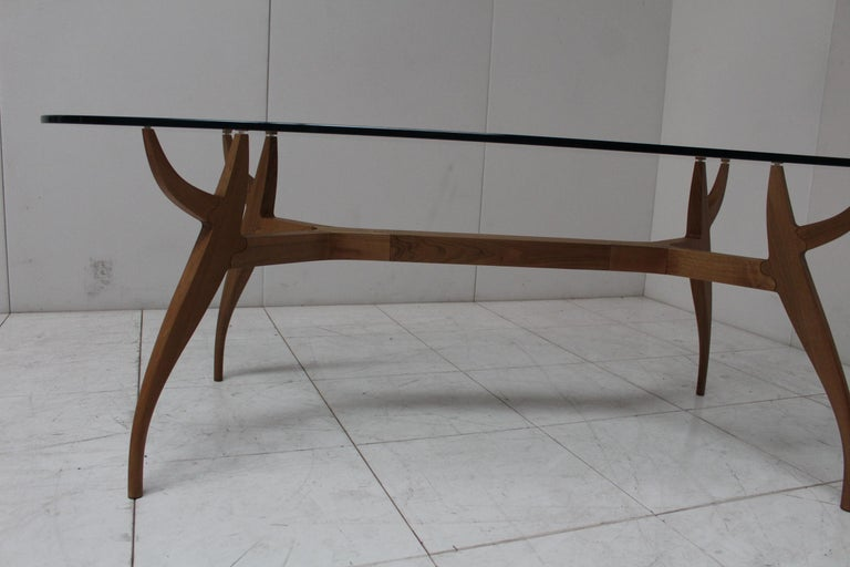 STAG Dining Table in Solid Walnut and Glass Top For Sale 2