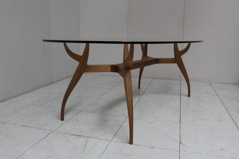 STAG Dining Table in Solid Walnut and Glass Top For Sale 3
