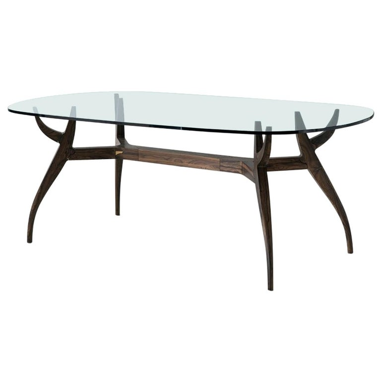 STAG Dining Table in Solid Walnut and Glass Top For Sale