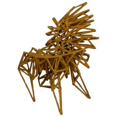 "21st Century ""String Theory"" Chair by Gemma Barr Steel and Sand Paste Yellow"