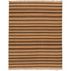 21st Century Striped Brown Kilim Rug