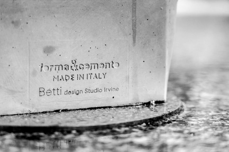 Machine-Made 21st Century Studio Irvine Betti Concrete Stool in Brick Red Cement Handmade For Sale