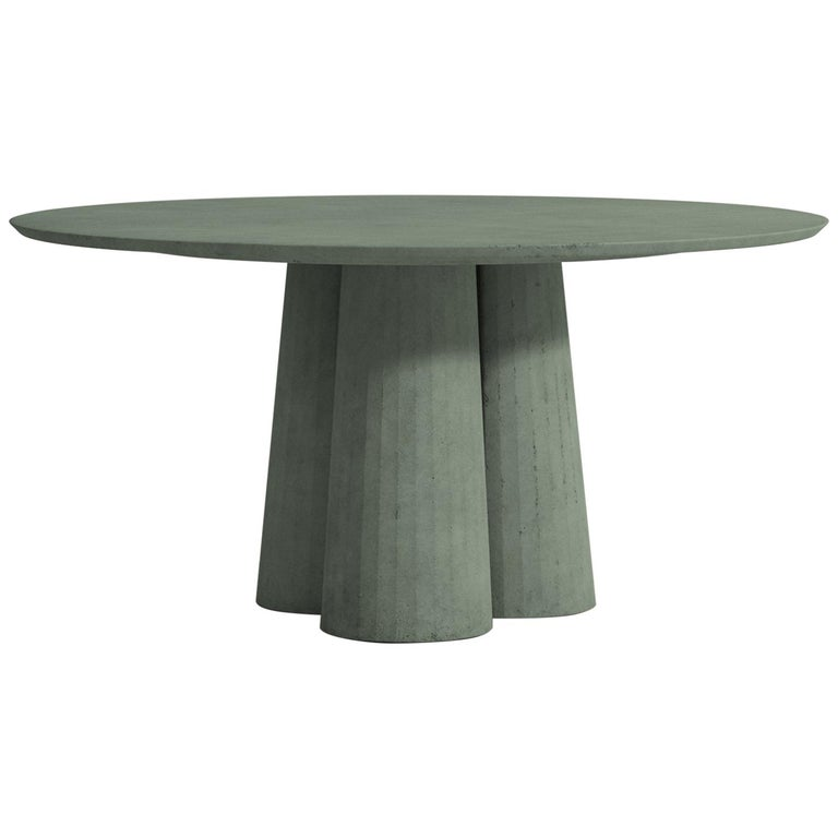 Cast 21st Century Studio Irvine Concrete Circular Dining Table Powder Cement Handmade For Sale