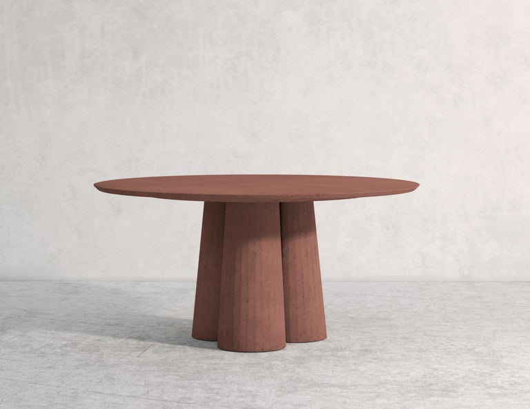 Contemporary 21st Century Studio Irvine Concrete Circular Dining Table Powder Cement Handmade For Sale