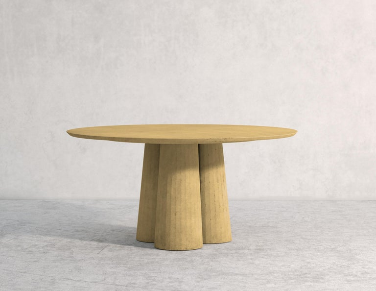 21st Century Studio Irvine Concrete Circular Dining Table Powder Cement Handmade For Sale 1