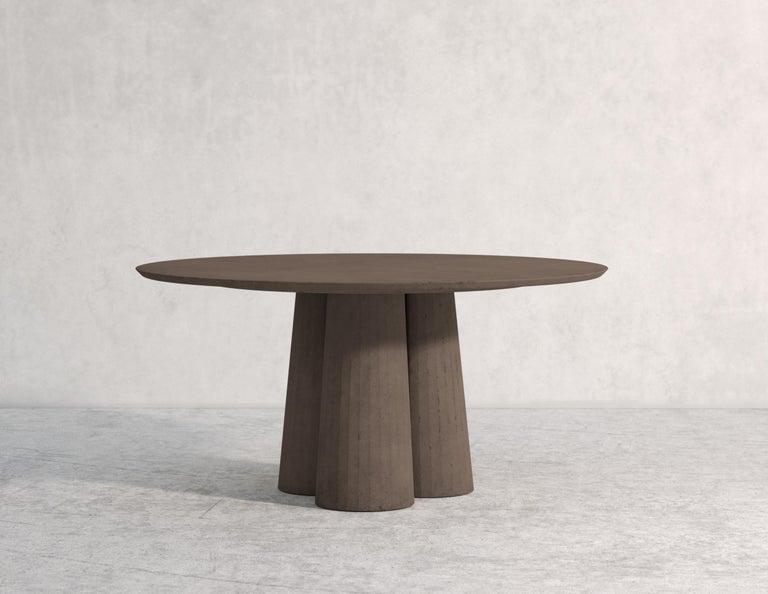 Classical Roman 21st Century Studio Irvine Concrete Circular Dining Table Silver Cement Handmade For Sale