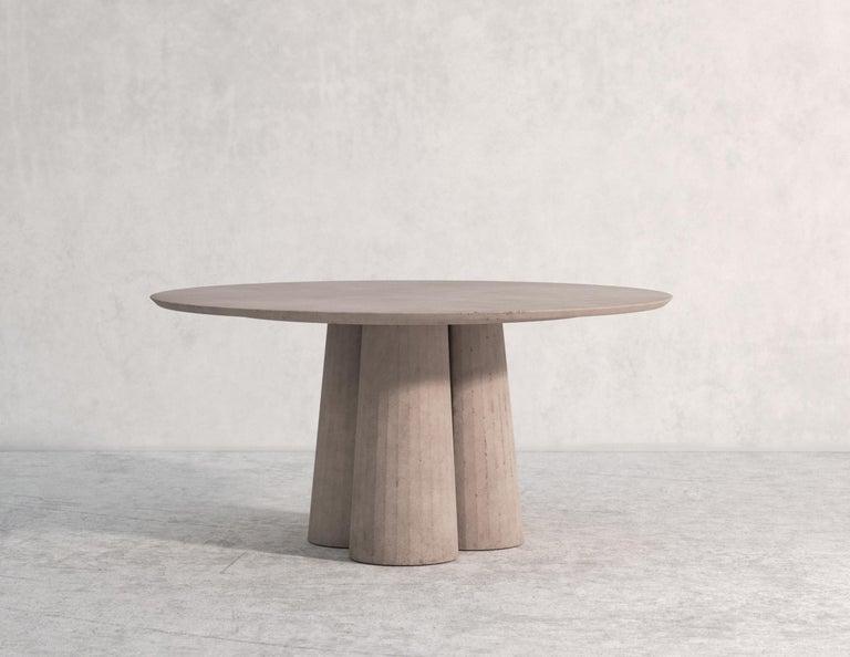 Italian 21st Century Studio Irvine Concrete Circular Dining Table Silver Cement Handmade For Sale